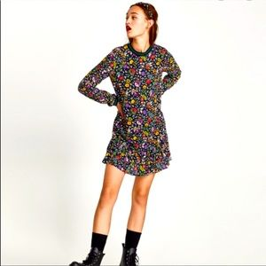 Zara Trafulac Drop Waist Black Floral Dress